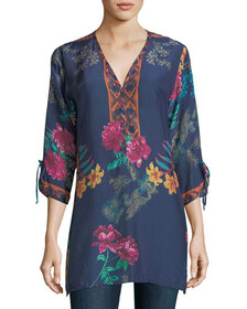 Johnny Was Cavalan Floral-Print Georgette Blouse,