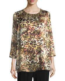 Caroline Rose Leopard Devore Layered Tunic, Plus S