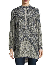 Tolani Natasha Long-Sleeve Geometric-Print Tunic,