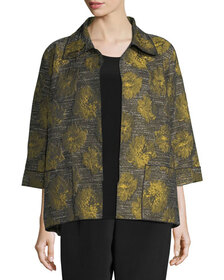 Caroline Rose Floral Interest Jacquard Jacket, Plu