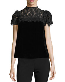 Rebecca Taylor Mock-Neck Lace-Yoke Short-Sleeve Ve