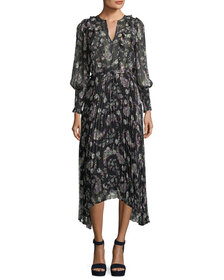 Rebecca Taylor Split-Neck Long-Sleeve Floral-Print