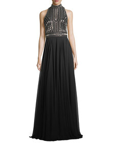 Theia Embellished Halter-Neck Cutout Evening Gown