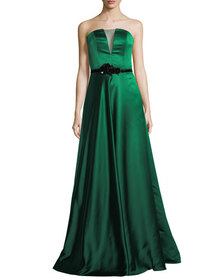 Theia Strapless Double-Faced Satin Evening Gown
