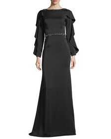 David Meister Bateau-Neck Slit-Sleeve Illusion-Bac