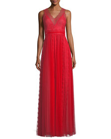Marchesa Notte Lace Trim Sleeveless V-Neck Evening