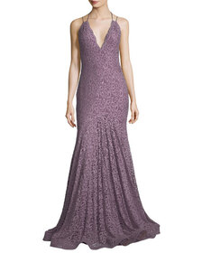 Jovani Halter Open-Back Sequined Lace Evening Gown