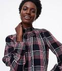 Shimmer Plaid Smocked Tie Neck Blouse