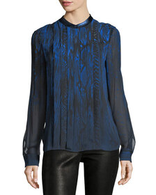 Elie Tahari Terri Long-Sleeve Pleated Snakeskin-Pr