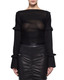 TOM FORD Sheer Raised-Seam Silk Top