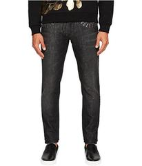 Versace Collection X Applique Jeans in Washed Blac