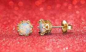 White Fire Opal Crown Studs by Peermont