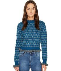 RED VALENTINO Carded Wool & Flower Jacquard Top