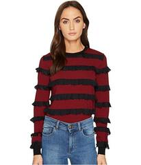 RED VALENTINO Striped Stretch Viscose & Rouches To