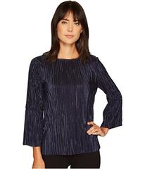 Vince Camuto Pleated Knit Bell Sleeve Crew Neck To