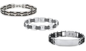 Men's Black Rubber and Stainless Steel Link Bracel