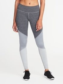 Mid-Rise Color-Block Compression Leggings for Wome