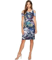 Tahari by ASL Cold Shoulder Technicolor Floral Dre