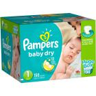 Pampers Baby Dry Diapers, Size 1, 198 Diapers