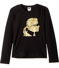 Karl Lagerfeld Long Sleeve Graphic Tee with Gather