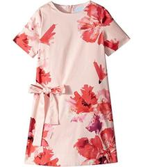 Lanvin Short Sleeve Floral Print A-Line Dress with