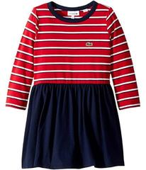 Lacoste Long Sleeve Stripe Peplum Dress (Toddler/L
