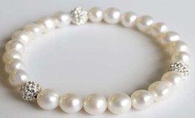 Genuine Pearl Bracelet Made with Swarovski Crystal