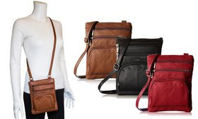 Genuine Leather Crossbody Purse with RFID Blocking