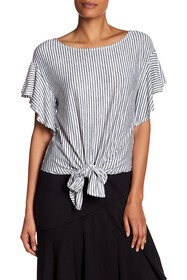 Max Studio Striped Knotted Hem Blouse