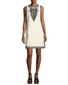 Tory Burch Camille Contrast-Embroidered Shift Dres