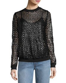Tory Burch Lansing Sequined Plaid Mesh Sweater