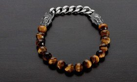 Men's Stainless Steel Buddha and Natural Stone Bea