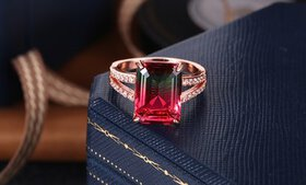 Emerald-Cut Watermelon Tourmaline & 18K Rose Gold