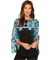 Calvin Klein Long Sleeve Printed Blouse with Ruffl