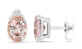 2.00 CTTW Morganite Sterling Silver Studs by Valen