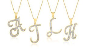 Diamond Accent Script Initial Pendant Necklace in