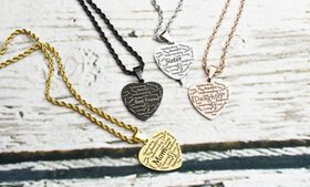 Pink Box Solid Stainless Heart Tag Necklace