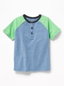 Color-Blocked Raglan-Sleeve Henley for Toddler Boy