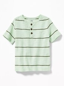 Striped Slub-Knit Henley for Toddler Boys