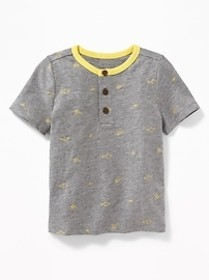 Printed Slub-Knit Henley for Toddler Boys