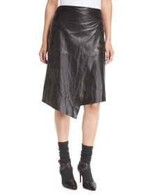 Brunello Cucinelli Leather Faux-Wrap Midi Skirt