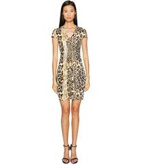 Just Cavalli Short Sleeve V-Neck Mixed Animal Prin