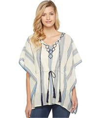 Vince Camuto Embroidered Towel Stripe Tassel Ponch