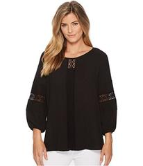 Anne Klein Lace Inset Pleated Blouse