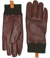 UGG Casual Leather Smart Gloves w/ Knit Cuff