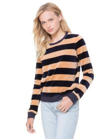 Juicy Couture Striped Stretch Velour Pullover