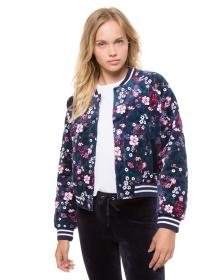 Juicy Couture Track Floral Quilted Velour Bomber J