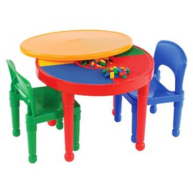 Round Plastic Construction Table With 2 Chairs and