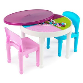 Round Plastic Construction Table With 2 Chairs & C