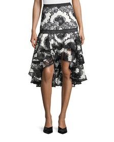 Alexis Halima Monochrome Lace High-Low Flared Skir